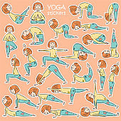 Kids yoga sticker set
