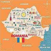 Stylized map of Romania