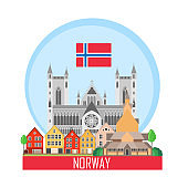Norway background with national attractions