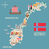 Stylized map of Norway
