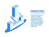 Download icon. Isometric template in flat 3D style. Vector illustration.