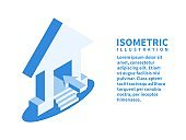 Home icon. Isometric template in flat 3D style. Vector illustration.