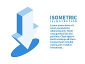 Download icon. Isometric template for web design in flat 3D style. Vector illustration.