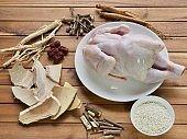 Korean food samgyetang,chicken soupwithginseng