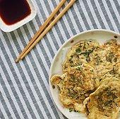 Korean style Egg vegetable pancakes