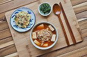 Korean food Bean sprouts kimchi soup