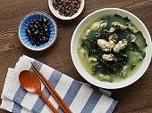 Korean food Oyster Seaweed Soup, Miyeok-guk