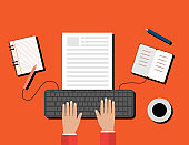 Creative Content  Writing, Blogging Post, Digital Media Flat Illustration