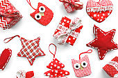 Christmas decoration - gifts, stars, owles and hearts on white background