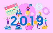The concept of the year of opportunities 2019, office team,  increasing profits and saving costs, teamwork, corporate concept.