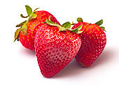 Fresh Organic Strawberries on a White Background