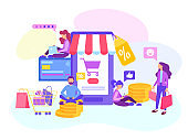 Shopping online in the internet store, Credit Card Payment, Sale.