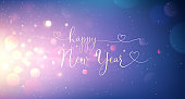 Happy New Year Greeting Text. Vector illustration