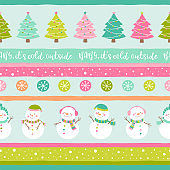 Cute snowman and christmas tree ackground