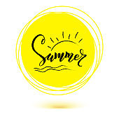 Summer, hand lettering of text on yellow sun icon. Hand drawn calligraphy and brush pen lettering. Template of logo for invitation of summer beach parties, touristic actions and travel agency events