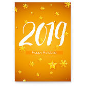 Cover 2019 hand written lettering and golden Christmas toys. Design of Happy New Year poster with calligraphy. Hand-lettering text, Vector illustration for holidays party, leaflets. EPS10 file