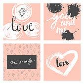 Valentine cards set.