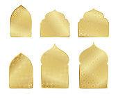 Ramadan Kareem gold greeting card, banner muslim elements. Vector arabic shining background in islamic style