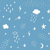Hand drawn abstract seamless pattern. Rain, stars, clouds, lightning, space background