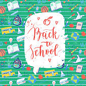 Back to school label, greeting card. Vector quote Back to school with hearts, apple.