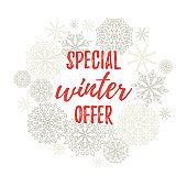 Special winter offer label, banner, sticker. Vector winter holidays backgrounds with hand lettering calligraphy, Christmas silver snowflakes.