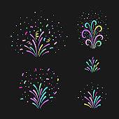 Vector firework hand drawn elements set. Holiday decor on black background.