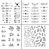 Love set. Vector hand lettering overlays, phrases for greeting cards, posters. Handdrawn arrows, branches, hearts, crown, wings, leaves decoration for Happy Valentines Day