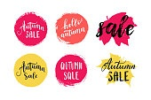 Autumn sale leaves prints, banner, label, round shape. Vector set collection of paint brush sticker tags isolated on white background. Hand drawn design elements.