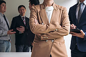 Confident business woman leader, business team meeting conference in office, The senior executive is standing in front