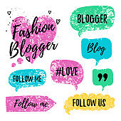 Vector speech bubbles with phrases Fashon Blogger, Blog, #love, follow me. Hand drawn speech bubbles, blog label in grunge style with hashtag. Social media icons set. Follow us, follow me.
