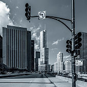 Chicago street blach and white