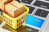 Online shopping, internet purchases and e-commerce concept