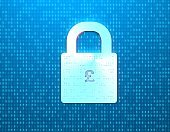 Financial network security, financial data coding, currency symbols and a lock,pound