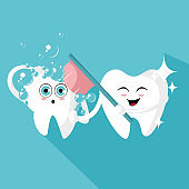 Tooth with a toothbrush, smiling. Vector illustration