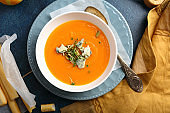 Pumpkin cream soup with blue cheese, food above