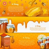 Honey or natural farm product. beekeeping or garden. Health, organic sweets, medicine illustration, agriculture. food in honeycomb cooked by bees. background for text. Card or poster for web site