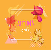 Orange autumn sale background with colorful 3d leaves.