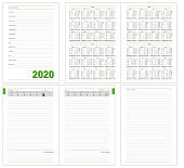 Datebook, Diary daily planner, calendar 2020 year