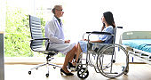 The doctors are asking and explaining about the illness to a female patient on wheelchair at a hospital.