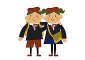 Entry ceremony. Graduation ceremony. kindergarten. Children's clip art. Children wearing formal wear.