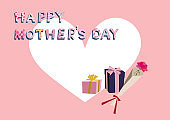 Mother's day card. Vector illustration material collection. Happy Mothers Day. message card. Message card on Mother's Day. Material collection. Vector art material collection. Clip art of Mother's Day.