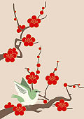 Image material of red plum blossoms.Image of spring of Japan. Japanese pattern design material. Material collection of New Year. Illustration of spring image.