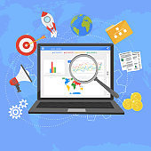 Colorful flat illustration web analytics design , SEO optimization.