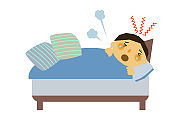 Clip art of a person with poor physical condition.Image of a person sneezing.Illustration of a person coughing.A person who is being treated with influenza.