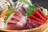 fresh sashimi combo in a tub
