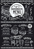 Sandwich menu restaurant, food template.