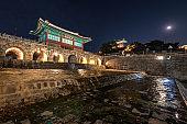 Hwahongmun Gate (Buksumun) in Hwaseong Fortress at suwon,Korea