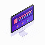 3D Isometric computer screen in flat design vector illustration. LCD monitor icon isolated on white background. Concept of digital technology with infographic elements for presentation, landing page.