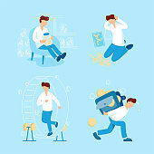 Person and money collection vector flat illustration. Man collects coins, carries the big heavy wallet with small money, running in hamster wheel and keeps in hands a jar with coins for donation