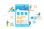 Small people around a smartphone make a UI UX process infographic. Teamwork business concept. Business workers together in minimal design vector flat illustration.